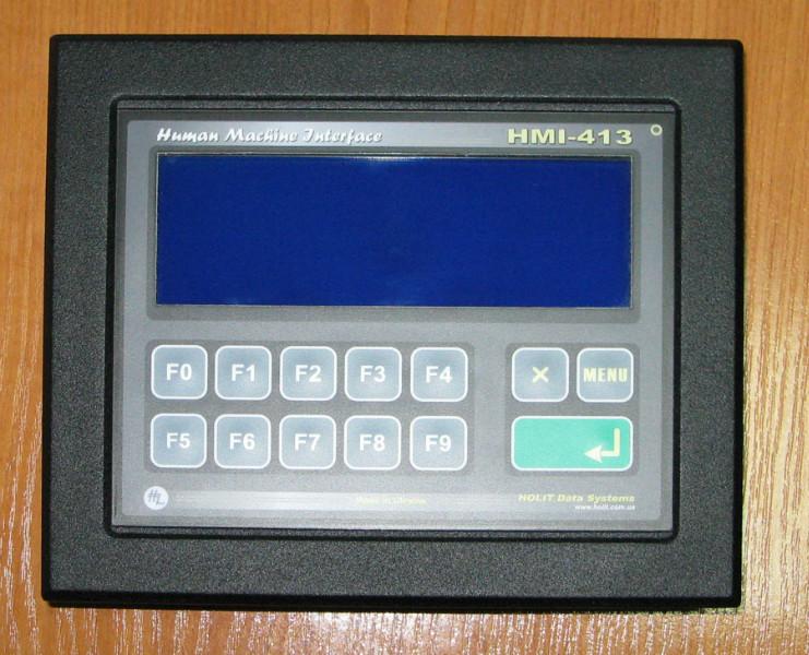 HMI-413 знакосинтезирующий LCD индикатор 4 строки по 20 символов со светодиодной подсветкой, высота символов 9.66 мм, синий фон подсветки, белые символы