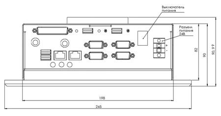 Вид со стороны боковой стенки с разъемами для подключения внешних устройств